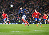 23rd March 2018, Hampden Park, Glasgow, Scotland; International Football Friendly, Scotland versus Costa Rica; Callum Paterson of Scotland and Bryan Oviedo of Costa Rica in a race for the ball