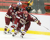 ?, Brian Gibbons (BC - 17), Ben Smith (BC - 12) - The Boston College Eagles defeated the Harvard University Crimson 3-2 on Wednesday, December 9, 2009, at Bright Hockey Center in Cambridge, Massachusetts.