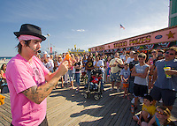 Street Busker performing on the boardwalk, Seaside Heights, New Jersey