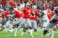 Indianapolis, IN - December 1, 2018: Ohio State Buckeyes quarterback Dwayne Haskins (7) throws a pass during the Big Ten championship game between Northwestern  and Ohio State at Lucas Oil Stadium in Indianapolis, IN.   (Photo by Elliott Brown/Media Images International)