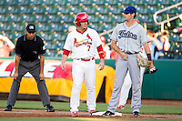 Zack Cox (7) of the Springfield Cardinals stands on first during a game against the Tulsa Drillers at Hammons Field on July 20, 2011 in Springfield, Missouri. Springfield defeated Tulsa 12-1. (David Welker / Four Seam Images)