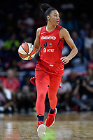 Washington, DC - September 8, 2019: Washington Mystics forward Aerial Powers (23) brings the ball up court during game between the Chicago Sky and Washington Mystics at the Entertainment and Sports Arena in Washington, DC. The Mystics locked up the #1 seed in the Playoffs by defeating the Sky 100-86. (Photo by Phil Peters/Media Images International)