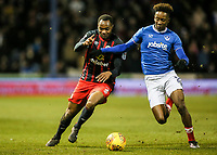 Blackburn Rovers' Ryan Nyambe competing with Portsmouth's Jamal Lowe <br /> <br /> Photographer Andrew Kearns/CameraSport<br /> <br /> The EFL Sky Bet League One - Portsmouth v Blackburn Rovers - Tuesday 13th February 2018 - Fratton Park - Portsmouth<br /> <br /> World Copyright &copy; 2018 CameraSport. All rights reserved. 43 Linden Ave. Countesthorpe. Leicester. England. LE8 5PG - Tel: +44 (0) 116 277 4147 - admin@camerasport.com - www.camerasport.com