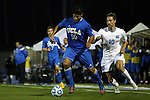 06 December 2014: UCLA's Edgar Contreras (30) and North Carolina's Andy Craven (10). The University of California Los Angeles Bruins hosted the University of North Carolina Tar Heels at Drake Stadium in Los Angeles, California in a 2014 NCAA Division I Men's Soccer Tournament Quarterfinal round match. The game ended in a 3-3 tie after two overtimes. UCLA advanced to the next round by winning the penalty kick shootout 7-6.