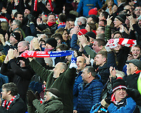 Lincoln City fans celebrate Lincoln City's Michael Bostwick's goal<br /> <br /> Photographer Andrew Vaughan/CameraSport<br /> <br /> Emirates FA Cup Third Round - Everton v Lincoln City - Saturday 5th January 2019 - Goodison Park - Liverpool<br />  <br /> World Copyright &copy; 2019 CameraSport. All rights reserved. 43 Linden Ave. Countesthorpe. Leicester. England. LE8 5PG - Tel: +44 (0) 116 277 4147 - admin@camerasport.com - www.camerasport.com