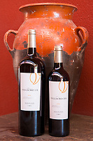 Bottles of red wine Finca Villacreces, Ribera del Duero bodega wine production by River Duero, Navarro, Spain