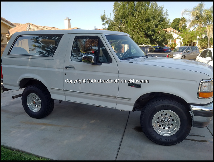BNPS.co.uk (01202 558833)<br /> Pic: AlcatrazEastCrimeMuseum/BNPS<br /> <br /> The car that drew millions of eyes during the infamous OJ Simpson police chase has emerged for sale. <br /> <br /> Ninety five million people watched on television as 'Juice' led 20 police cars and nine helicopters on an low-speed pursuit through Los Angeles. <br /> <br /> Before the murder trial began Cowling sold the Bronco to Simpson's savvy former agent Mike Gilbert for $75,000, who saw it as a shrewd investment. <br /> <br /> Now exhibited at the Alcatraz East Crime Museum in Tennessee, Gilbert is seeking &pound;550,000 for the car.