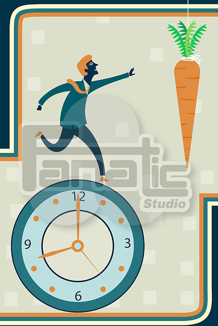 Illustrative image of businessman running on clock reaching carrot representing desire for incentives