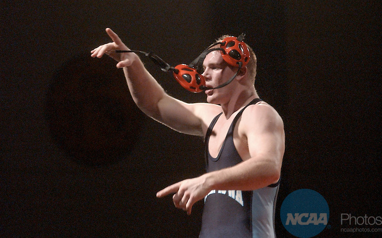 8 MARCH 2003:  Brent Meyers of Upper Iowa celebrates his victory over Yan White of Stevens Point in the 197 lb. match during the Division 3 Wrestling Championships held at the University Sports Center on the Ohio Northern University campus in Ada, Ohio.  Meyers won the match 3-1 in sudden victory overtime.  Will Shilling/NCAA Photos