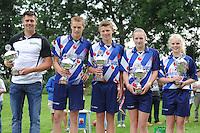 FIERLJEPPEN: GRIJPSKERK: 15-08-2015, winnaars Sterenborg Bokaal,  v.l.n.r. Bart Helmholt (heren), Sytse Bokma (junioren), Jarich Wijnstra (jongens), Marrit van der Wal (dames), Maureen Poiesz (meisjes), ©foto Martin de Jong