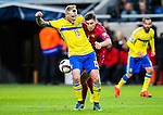 Solna 2015-10-12 Fotboll EM-kval , Sverige - Moldavien :  <br /> Sveriges John Guidetti i kamp om bollen med Moldaviens Igor Armas under matchen mellan Sverige och Moldavien <br /> (Photo: Kenta J&ouml;nsson) Keywords:  Sweden Sverige Solna Stockholm Friends Arena EM Kval EM-kval UEFA Euro European 2016 Qualifying Group Grupp G Moldavien Moldova