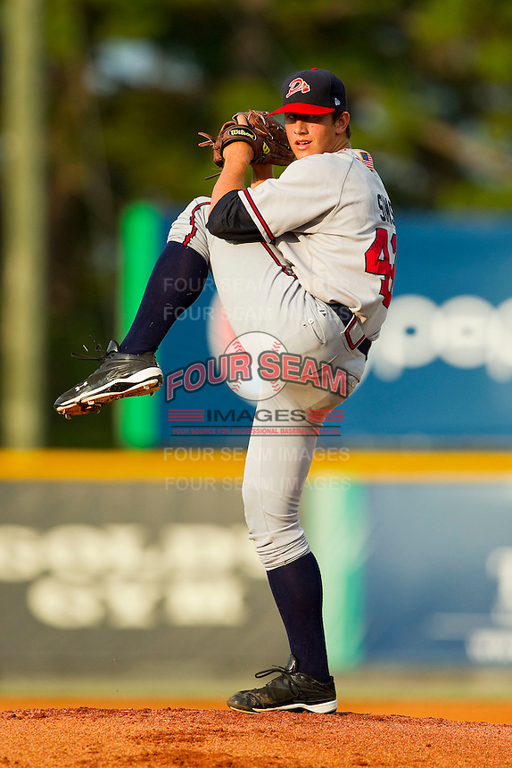Danville Braves starting pitcher Lucas Sims (43) in action against the Burlington Royals at Burlington Athletic Park on July 19, 2012 in Burlington, North Carolina.  The Royals defeated the Braves 4-3.  (Brian Westerholt/Four Seam Images)