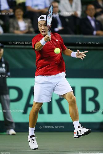 Go Soeda (JPN), SEPTEMBER 13, 2013 - Tennis : Davis Cup 2013 by BNP Paribas World Group Play-off second singles game, Japan 2-3 Columbia at Ariake Coliseum, Tokyo, Japan. (Photo by Yusuke Nakanishi/AFLO SPORT) [1090]