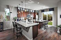 Kitchen Stock Photo with Cherry Wood Cabinets and white Grey Granite Countertops