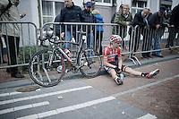 Kenny De Haes (BEL/Lotto-Belisol) exhausted after the finish line<br /> <br /> Sluitingsprijs Putte-Kapellen 2014