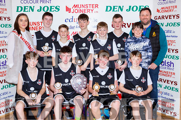 The St Pauls team that wonthe U14 Boys final at the St Marys Basketball Blitz on Saturday Oran Crowley, Ben Switzer, Luke Crowley, Timothy Moynihan. Back row:  Leanne Cahill-O'Connor Miss BasketballDarragh O'Brien, Matthew Horgan, Conor Gammell, Luke O'Neill, Jack O'Donoghue, Jasck O'Sullivan and Tim O'Sullivan