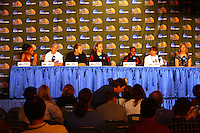 7 April 2008: Stanford Cardinal (L-R) Rosalyn Gold-Onwude, JJ Hones, Jayne Appel, Kayla Pedersen, Candice Wiggins, and head coach Tara VanDerveer during Stanford's press conference for the 2008 NCAA Division I Women's Basketball Final Four championship game at the St. Pete Times Forum Arena in Tampa Bay, FL.