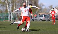 Nick Hölzel (Büttelborn) zieht ab und erzielt ein Tor - 07.04.2019: SKV Büttelborn vs. TSV Lengfeld, Gruppenliga Darmstadt