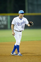 Burlington Royals third baseman Trey Stover (11) on defense against the Bluefield Blue Jays at Burlington Athletic Park on July 1, 2015 in Burlington, North Carolina.  The Royals defeated the Blue Jays 5-4. (Brian Westerholt/Four Seam Images)