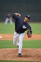 New York Yankees Yoendrys Gomez (48) during a Minor League Spring Training game against the Atlanta Braves on March 12, 2019 at New York Yankees Minor League Complex in Tampa, Florida.  (Mike Janes/Four Seam Images)