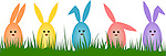Vector illustration of colorful Easter eggs posing as bunnies standing in grass isolated on white background.<br />
