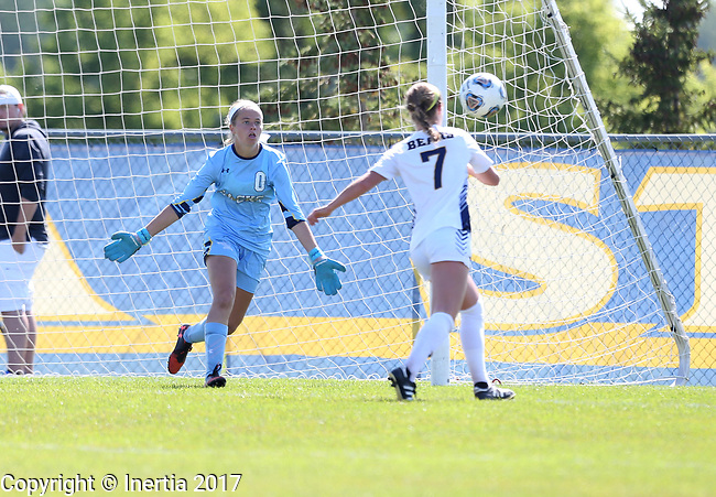 BROOKINGS, SD - SEPTEMBER 17: Goalie Taylor Lock #0 from South Dakota State University defends the shot by Kenzie Engelkins #7 from Northern Colorado during their game Sunday afternoon at Fischback Soccer Field in Brookings. (Photo by Dave Eggen/Inertia)