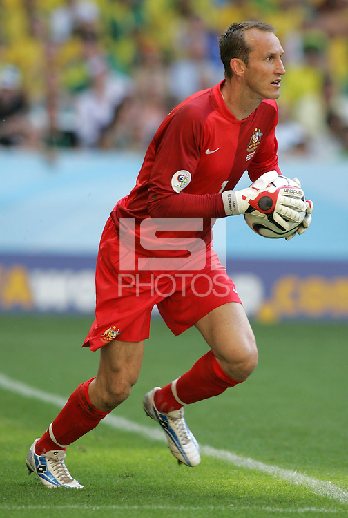 Australia goalkeeper Mark Schwarzer. Brazil defeated Australia, 2-0, in their FIFA World Cup Group F match at the FIFA World Cup Stadium, Munich, Germany, June 18, 2006.