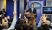 United States President Barack Obama calls on reporters as he holds an impromptu news conference in the Brady Briefing Room of the White House in Washington on Tuesday, February 9, 2010.  Obama urged compromise and bipartisanship with the Republican opposition on efforts such as health care and bringing down the deficit.  .Credit: Mike Theiler / Pool via CNP