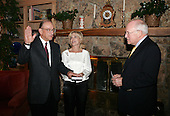 In the home of former President Gerald Ford in Beaver Creek, Colorado, United States Vice President Dick Cheney swears in Alan Greenspan for a fifth term as Chairman of the U.S. Federal Reserve Board of Governors Saturday evening, June 19, 2004. Greenspan is pictured his wife Andrea Mitchell. <br /> Mandatory Credit: David Bohrer / White House via CNP