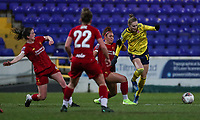 13th February 2020; Deva Stadium, Chester, Cheshire, England; Womens Super League Football, Liverpool Womens versus Arsenal Womens;  Vivianne Miedema of Arsenal Women breaks away as she is surrounded by Liverpool players