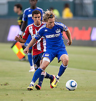 CARSON, CA – SEPTEMBER 19: KC Wizard defender Michael Harrington (2) during a soccer match at Home Depot Center, September 19, 2010 in Carson California. Final score Chivas USA 0, Kansas City Wizards 2.
