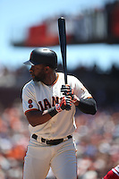 SAN FRANCISCO, CA - JUNE 26:  Denard Span #2 of the San Francisco Giants bats against the Philadelphia Phillies during the game at AT&T Park on Sunday, June 26, 2016 in San Francisco, California. Photo by Brad Mangin