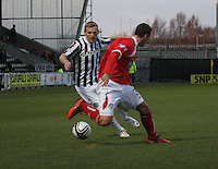 Gary Teale cuts outside Jonathon Brown in the St Mirren v Brechin City William Hill Scottish Cup Round 4 match played at St Mirren Park, Paisley on 1.12.12.