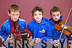 Diarmuid O'Donoghue (Glenflesk) with Ben and Damien Switzer (Glenflesk) pictured at Ceoltas Ceoltoiri Eireann finals held in IT Tralee on Saturday morning.