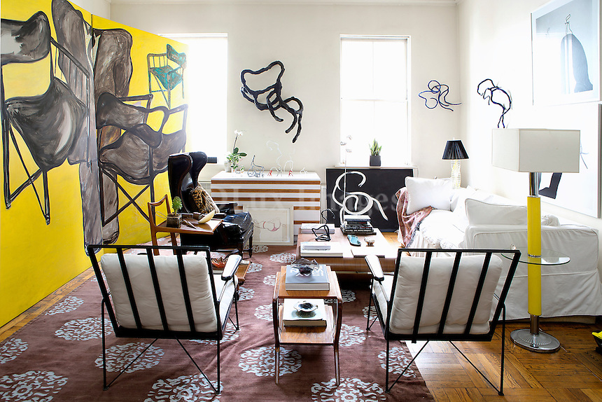 Living room with mid century design furniture<br />