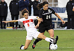 03 November 2010: Duke's Mollie Pathman (24) and Maryland's Domenica Hodak (2). The Maryland Terrapins defeated the Duke Blue Devils 1-0 in an ACC Women's Soccer Tournament quarterfinal game at Koka Booth Stadium at WakeMed Soccer Park in Cary, NC.