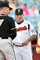Nashville Sounds manager Rick Sweet (17) during the lineup exchange before a game against the Omaha Storm Chasers on May 19, 2014 at Herschel Greer Stadium in Nashville, Tennessee.  Nashville defeated Omaha 5-4.  (Mike Janes/Four Seam Images)