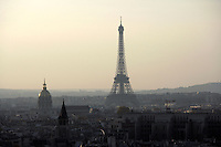 Eiffel Tower (1889), dome of the Invalides (1706) at sunset, Paris, France Picture by Manuel Cohen