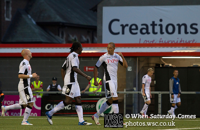 Crusaders 1 Fulham 3, 16/07/2011. Seaview Park, Europa League 2nd qualifying round first leg. Fulham striker Bobby Zamora celebrating putting his team back into the lead in the second half of a UEFA Europa League 2nd qualifying round, first leg match at Seaview, Belfast. The visitors from England won by 3 goals to 1 before a crowd of 3011. Photo by Colin McPherson.