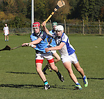 1310/2015   Action from Sixmilebridge where Sr Flannen's College took on Castletroy College in the Harty Cup.  Our photograph shows Brian Garry, Castlletroy and Ross Hayes in action.<br /> Photograph Liam Burke/Press 22