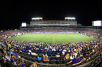 Orlando, Florida - Saturday, April 23, 2016: Fans enjoy an evening NWSL match between Orlando Pride and Houston Dash at the Orlando Citrus Bowl.  Orlando won 3-1.