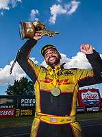 Sep 3, 2018; Clermont, IN, USA; NHRA funny car driver J.R. Todd celebrates after winning the US Nationals at Lucas Oil Raceway. Mandatory Credit: Mark J. Rebilas-USA TODAY Sports