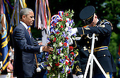 United States President Barack Obama lays a wreath at the Tomb of the Unknown Soldier at Arlington National Cemetery, May 25, 2015 in Arlington, Virginia. <br /> Credit: Olivier Douliery / Pool via CNP