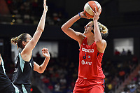Washington, DC - August 25, 2019: Washington Mystics forward Elena Delle Donne (11) goes up for a jump shot over New York Liberty forward Rebecca Allen (9) during second half action of game between the New York Liberty and the Washington Mystics at the Entertainment and Sports Arena in Washington, DC. The Mystics defeated New York 101-72. (Photo by Phil Peters/Media Images International)