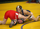 Ricardo Gomez and Tyler Peet wrestle at the 119 weight class during the NY State Wrestling Championships at Blue Cross Arena on March 8, 2008 in Rochester, New York.  (Copyright Mike Janes Photography)