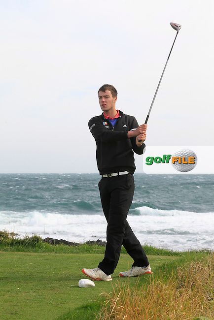 Jack McDonnell (Forrest Little) on the 14th tee during Round 1 of the Irish Youths Amateur Close Championship in Ardglass Golf Club on Wednesday 27th August 2014.<br />