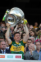 Aidan o'Mahony lifts the Sam Maguire Cup to celebrate  Kerry's victory over Donegal in the All-Ireland Football Final against  in Croke Park 2014.<br /> Photo: Don MacMonagle<br /> <br /> <br /> Photo: Don MacMonagle <br /> e: info@macmonagle.com