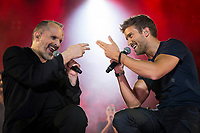 Spanish Singer Miguel Bose in collaboration with singer Pablo Alboran during the first stop of his tour 'Estar&eacute;' at Wizink Center in Madrid, June 23, 2017. Spain.<br /> (ALTERPHOTOS/BorjaB.Hojas) (NortePhoto.com) (NortePhoto.com)