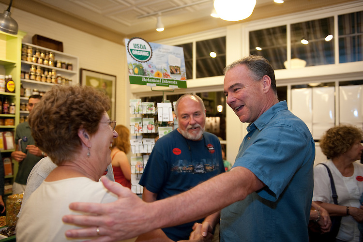 "UNITED STATES - August 10: Gov. Tim Kaine greets constituents at the Floyd Country Store in Floyd Virginia. Gov. Kaine is campaigning in Southwest Virginia this weekend, including stops at the Floyd Country Store in Floyd and Barr's Fiddle Shop, the 77th Old Fiddler's Convention, and the Twin County Regional Chamber's annual ""Poor Man's Dinner"" in Galax Virginia. (Photo By Douglas Graham / CQ Roll Call)"
