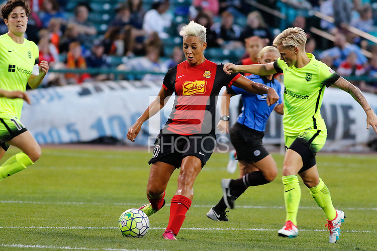 Rochester, NY - Saturday July 09, 2016: Lianne Sanderson, Jessica Fishlock during a regular season National Women's Soccer League (NWSL) match between the Western New York Flash and the Seattle Reign FC at Frontier Field.